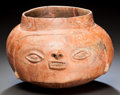 Pre-Columbian:Ceramics, A Panama Head Vessel. ...