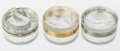 Art Glass:Lalique, Three Lalique Clear and Frosted Glass Powder Boxes:Serpents, Daphne & Flower, late 20th...(Total: 3 Items)