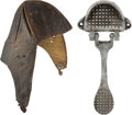 Miscellaneous Collectibles:General, Circa 1920's Leather Racing Cap and Gas Pedal Lot of 2...