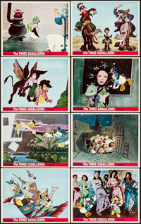 """The Three Caballeros (Buena Vista, R-1970s). British Front of House Color Photo Set of 8 (8"""" X 10""""). Animation..."""