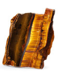 Lapidary Art:Carvings, Tiger's Eye Slab. Mt. Brockman Station. Pilbara. WesternAustralia. 8.27 x 6.38 x 0.46 inches (21.00 x 16.20 x 1.18cm)...