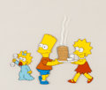 "Animation Art:Production Cel, The Simpsons ""Life In The Fast Lane"" Bart, Lisa, and MaggieProduction Cel (Fox, 1990)...."