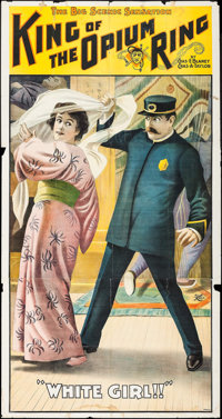 """The King of the Opium Ring (Alhambra Theatre, 1904). Three Sheet (42"""" X 80""""). Exploitation"""