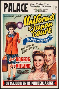 "The Major and the Minor (Paramount, Late 1940s). First Post-War Release Belgian (14"" X 21.5""). Comedy"