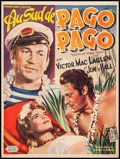 """Movie Posters:Adventure, South of Pago Pago (United Artists, 1953). First Release TrimmedBelgian (13.75"""" X 18.25""""). Adventure.. ..."""
