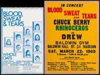 "Blood, Sweat, and Tears and Chuck Berry at the Drew Baldwin Gym (Unknown, 1969). Concert Window Card (18"" X 24.25&q..."