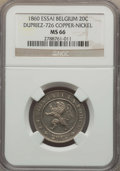 Belgium, Belgium: Leopold I copper-nickel Essai 20 Centimes 1860 MS66NGC,...