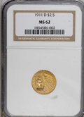 Indian Quarter Eagles: , 1911-D $2 1/2 MS62 NGC. . NGC Census: (756/824). PCGS Population (357/595). Mintage: 55,600. Numismedia Wsl. Price for NGC/...
