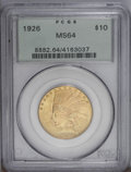 Indian Eagles: , 1926 $10 MS64 PCGS. Boldly struck and highly lustrous, with lovelymint-green and peach coloration, shimmering luster, and ...