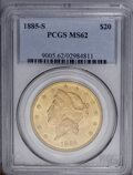 Liberty Double Eagles: , 1885-S $20 MS62 PCGS. Peach-gold surfaces display fairly niceluster and sharply struck design features. Several minor abra...