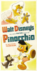 "Movie Posters:Animated, Pinocchio (RKO, 1940). Three Sheet (41"" X 81"") Style A. ..."