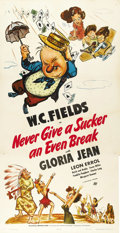 "Movie Posters:Comedy, Never Give a Sucker an Even Break (Universal, 1941). Three Sheet (41"" x 81"")...."