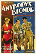 "Movie Posters:Drama, Anybody's Blonde (Action Pictures, 1931). One Sheet (27"" X 41"")...."