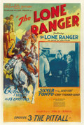"Movie Posters:Serial, The Lone Ranger (Republic, 1938). One Sheet (27"" X 41""). Chapter 3-- ""The Pitfall.""..."
