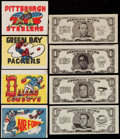 Football Cards:Lots, 1961 Topps Sticker & 1962 Topps Bucks Football Collection (65)....