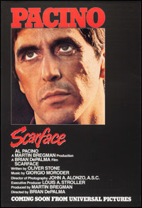 """Scarface (Universal, 1983). One Sheet (27"""" X 40"""") Advance & Trimmed OS (26"""" X 41""""). Crime. ... (..."""