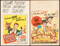 "Francis Covers the Big Town & Other Lot (Universal International, 1953). Window Cards (2) (14"" X 22"")..."