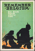 "Movie Posters:War, World War I Propaganda (U.S. Printing and Litho Co., 1918). Poster (20"" X 30"") ""Remember Belgium."" War.. ..."