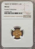 Mexico, Mexico: Republic gold 1/2 Escudo 1863 C-CE MS63,...