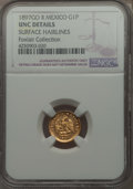 Mexico, Mexico: Republic gold Peso 1897 Go-R UNC Details (SurfaceHairlines) NGC,...