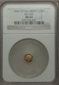 California Fractional Gold , 1854 25C Liberty Octagonal 25 Cents, BG-105, R.3, MS64 NGC. NGCCensus: (14/14). PCGS Population (71/25). ...