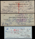 Baseball Collectibles:Others, Ed Barrow (2) and Max Carey Signed Checks (3)....