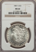 Morgan Dollars: , 1887-S $1 MS64 NGC. NGC Census: (946/157). PCGS Population (1917/425). Mintage: 1,771,000. Numismedia Wsl. Price for proble...