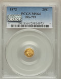 California Fractional Gold , 1872 25C Indian Octagonal 25 Cents, BG-791, R.3, MS64 PCGS. PCGSPopulation (95/22). NGC Census: (22/19). ...