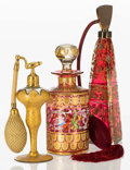 Art Glass:Other , Three Partial Gilt Bohemian Glass Perfume Bottles, late 19th-early20th century. Marks to one: Davis Collamore & Co, New Y...(Total: 3 Items)