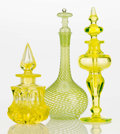 Art Glass:Other , A Murano and Two Molded Vaseline Glass Perfume Bottles, circa1930-1940. 8 inches high (20.3 cm) (tallest). A PERFUME BOTT...(Total: 3 Items)