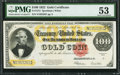 Large Size:Gold Certificates, Fr. 1215 $100 1922 Gold Certificate PMG About Uncirculated 53.. ...