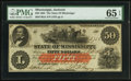 Obsoletes By State:Mississippi, Jackson, MS- State of Mississippi $50 Jan. 8, 1862 Cr. 2Ab. ...