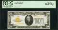 Small Size:Gold Certificates, Fr. 2402 $20 1928 Gold Certificate. PCGS Gem New 66PPQ.. ...