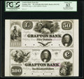 Obsoletes By State:Massachusetts, Grafton, MA- Grafton Bank $50-$100 Aug. 1, 1854 UNL-UNL Proofs Uncut Pair . ...