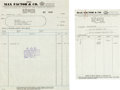 Movie/TV Memorabilia:Documents, A Mae West Set of Invoices from Max Factor & Co., 1932....