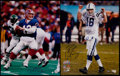 Football Collectibles:Photos, Jim Kelly and Peyton Manning Signed Oversized Photographs (2)....