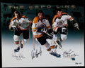 Hockey Collectibles:Photos, The Espo Line Multi-Signed Oversized Photograph....