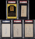 Baseball Collectibles:Others, 1927 New York Yankees Signed Index Cards, Cuts, Etc. Lot of 5....