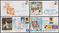 Baseball Collectibles:Others, Hank Aaron Signed First Day Covers lot of 4....