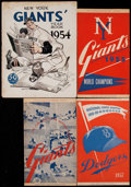 Baseball Collectibles:Publications, 1954-57 Dodgers and Giants Publications Lot of 4....