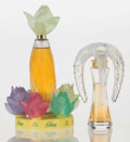 Art Glass:Lalique, A Lalique Factice and Perfume Bottle: Nilang &Lalique Flacon, post-1945. Marks to Flacon: Lalique,Fr... (Total: 2 Items)