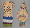 American Indian Art:Beadwork and Quillwork, Two Apache Beaded Hide Pouches. c. 1900... (Total: 2 Items)