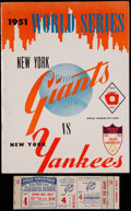 Baseball Collectibles:Programs, 1951 World Series Game 4 Program and Proof Ticket - DiMaggio Final HR....