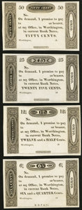 Obsoletes By State:Ohio, Worthington, OH- (Ezra Griswold) 6 1/4¢; 12 1/2¢; 25¢; 50¢ 18__Remainders Wolka 2875-03; -06; -10; -15. ... (Total: 4 notes)
