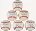 Baseball Collectibles:Balls, Baseball Greats Multi Signed Baseballs Lot of 6....