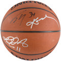 Basketball Collectibles:Balls, Shaq, Kobe, Payton and Malone Multi-Signed Basketball. ...