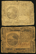 Colonial Notes:Continental Congress Issues, Continental Currency November 29, 1775 and May 9, 1776 $6 TwoExamples.. ... (Total: 2 notes)