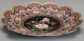 Asian:Japanese, A Japanese Cloisonné Floral Plate with Scalloped Rim. 1-1/2 h x 12di inches (3.8 x 30.5 cm). ...