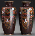 Asian:Japanese, A Pair of Japanese Cloisonné Cabinet Vases: Rooster andDragon. 6 inches high (15.2 cm). ... (Total: 2 Items)