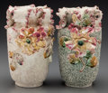 Ceramics & Porcelain, British, A Pair of English Majolica Vases with Floral Motif, late 19th-early 20th century. Impressed marks: ENGLAND. 10-1/2 inche... (Total: 2 Items)